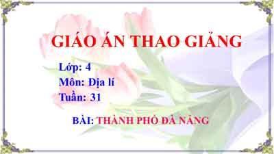 Giáo an Địa lí lớp 4 tuần 31: Thành phố Đà Nẵng