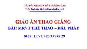 Giáo án MRVT Thể thao - Dấu phẩy. LTVC lớp 3 tuần 29