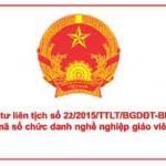 Thông tư liên tịch số 22/2015/TTLT/BGDĐT-BNV Quy định MS, TC CDNN GV THPT